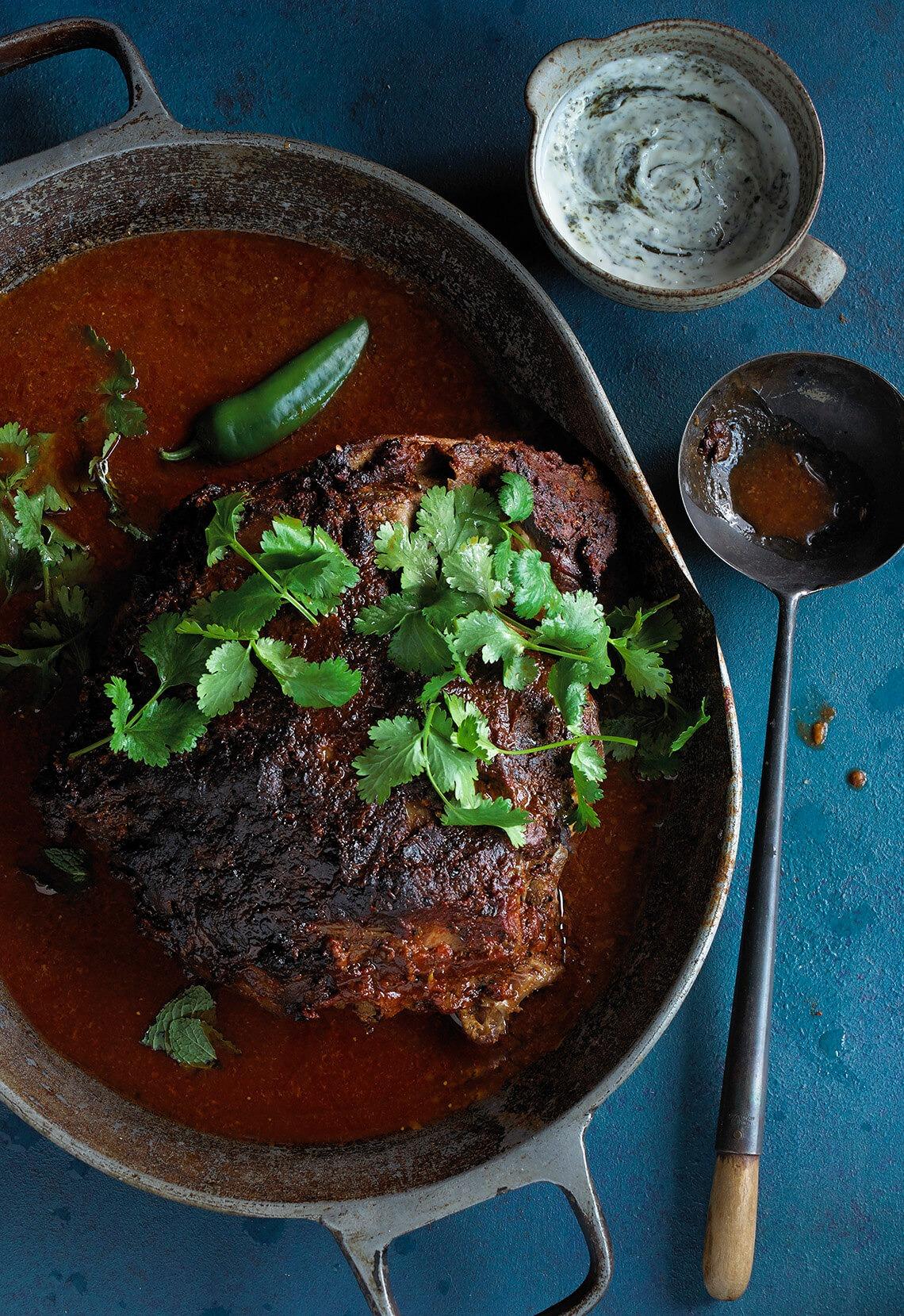 Madras lamb with raita side.