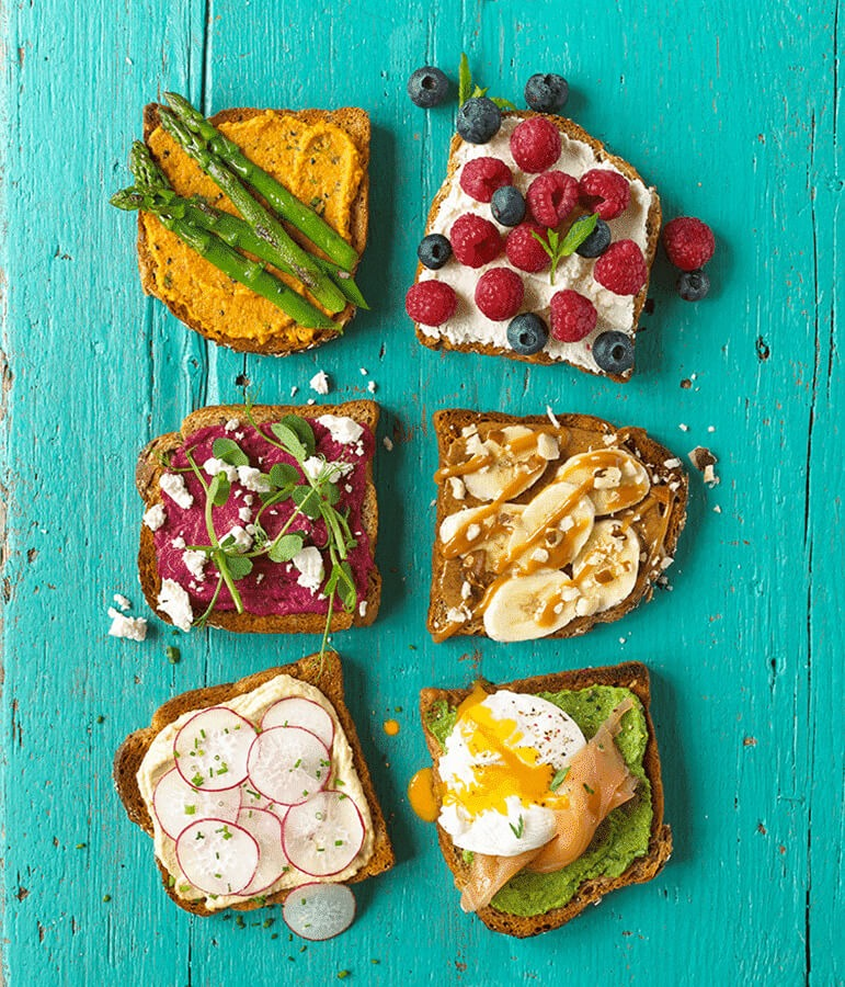 toast with delicious variety of toppings.